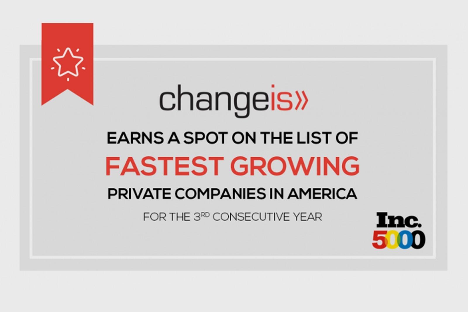 Changeis Awarded Prestigious Place on Inc. 5000 List for Third Consecutive Year