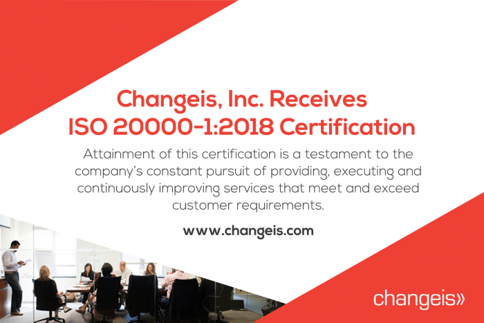 Changeis, Inc. Receives ISO 20000-1:2018 Certification